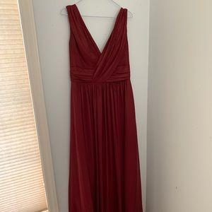 Dessy Sleeveless Draped Chiffon Maxi Dress #2894